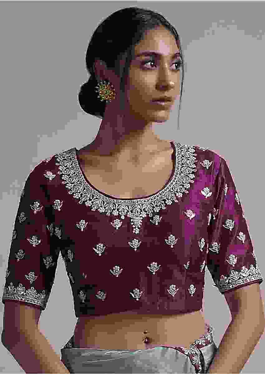 Plum Blouse In Raw Silk With Zardosi Embroidered Buttis And Round Neckline Online - Kalki Fashion