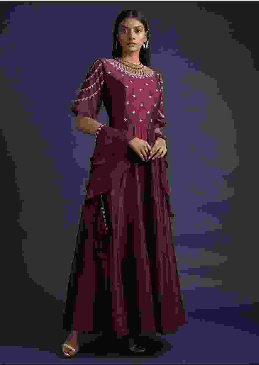 Plum Purple Anarkali Suit With Embroidered Bodice And Ruffle Dupatta Online - Kalki Fashion