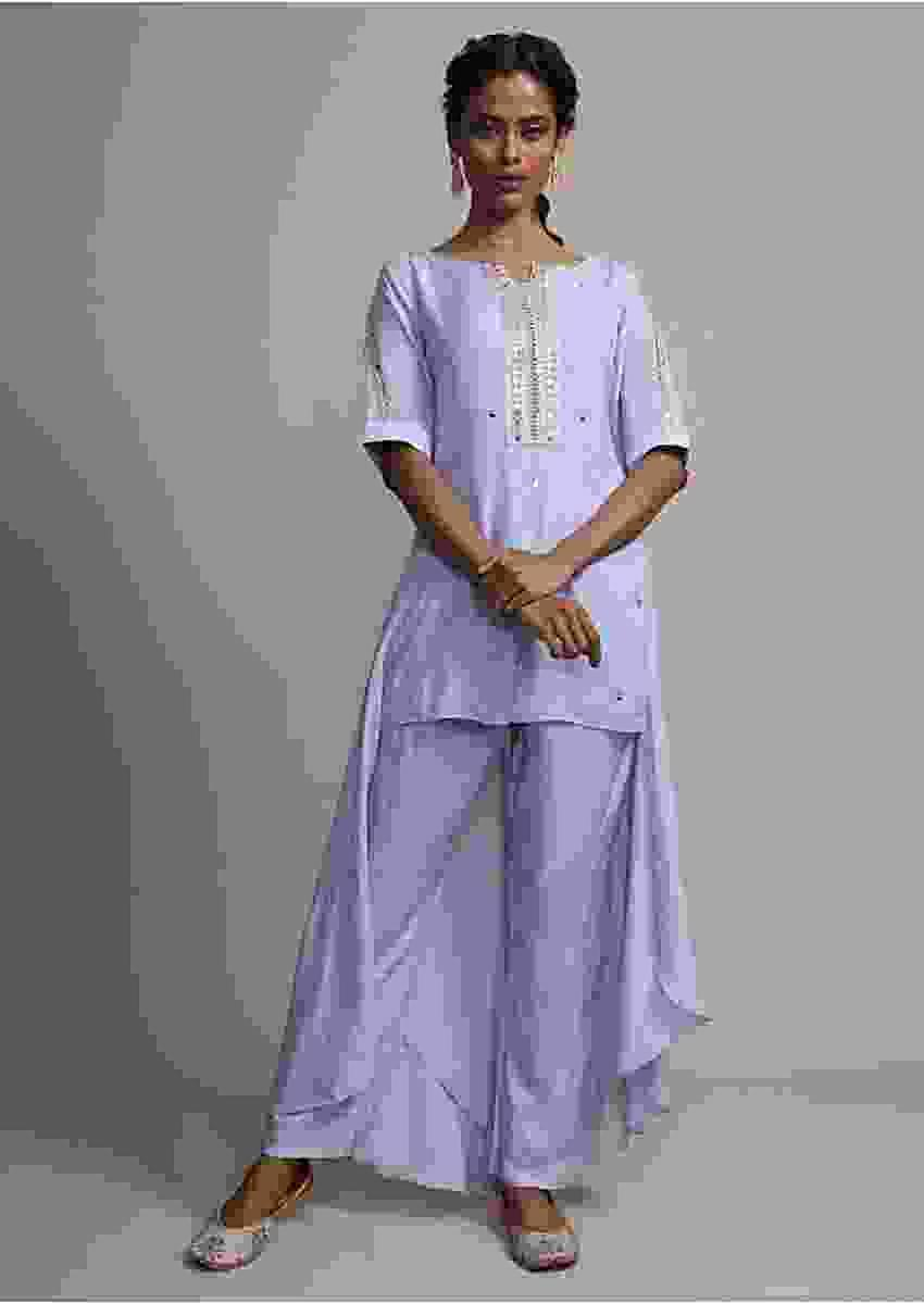 Powder Blue Front Short Back Long Mirror Embroidered Suit With Matching Pants Online - Kalki Fashion