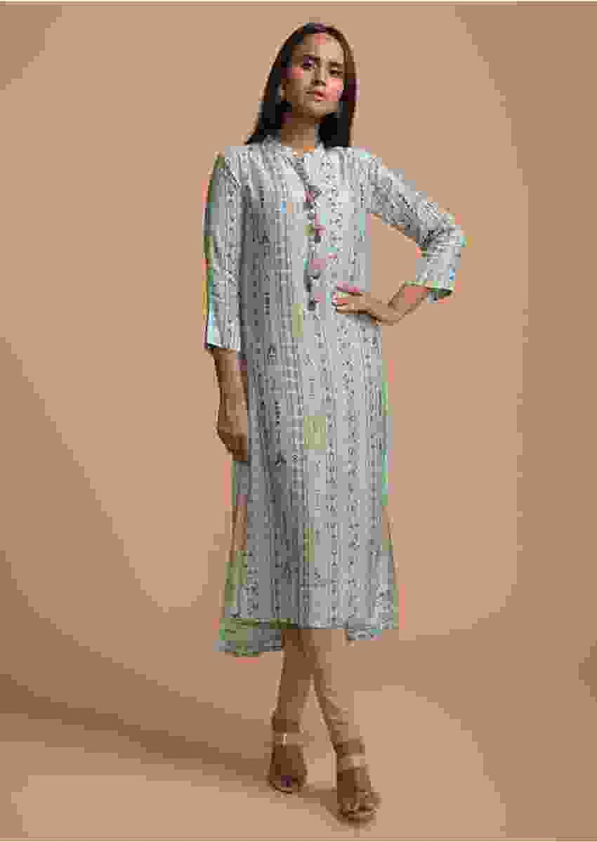Powder Blue Kurti In Cotton With Colorful Printed Tribal Design Online - Kalki Fashion