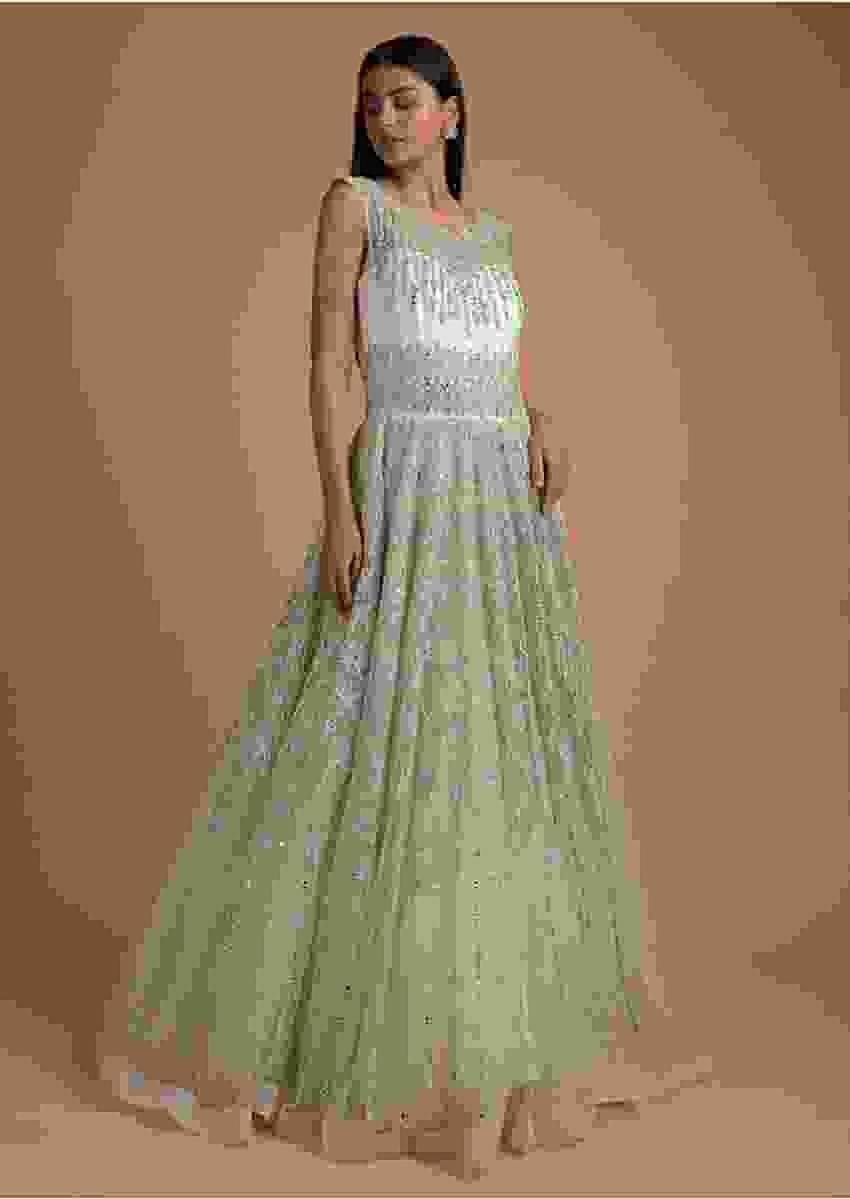 Powder Green Ball Gown In Net With Kundan And Stones With Moroccan Kalidar Pattern Online - Kalki Fashion