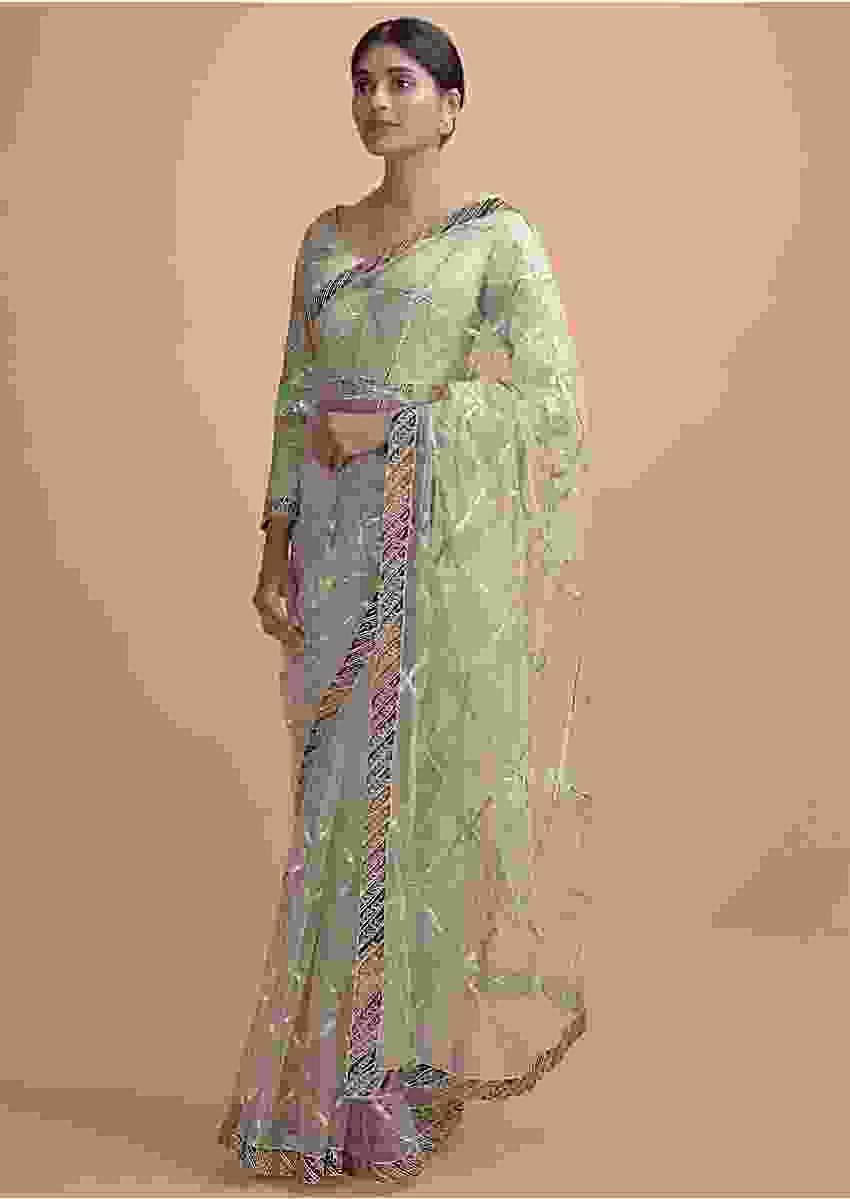 Powder Green Saree In Net With Gotta Lace, Zari And Patch Work In Checks And Floral Motifs Online - Kalki Online
