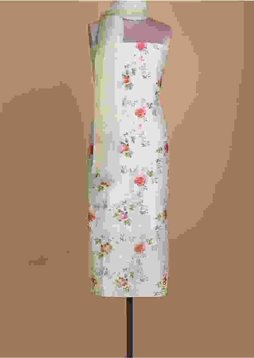 Powder Green Unstitched Suit With Floral Print And Beads Embroidery Online - Kalki Fashion