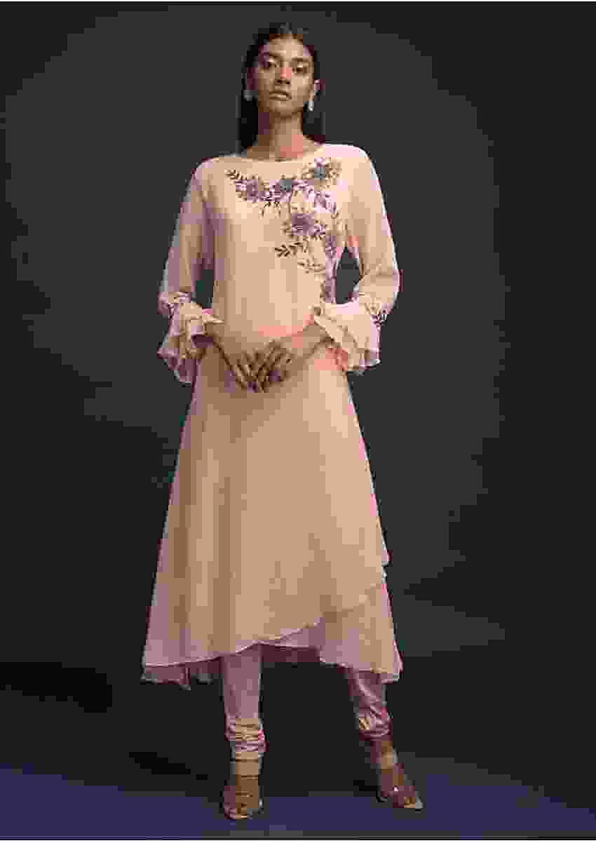 Powder Peach A Line Suit In Georgette With Overlapping Layered Pattern And Ruffle Sleeves Online - Kalki Fashion