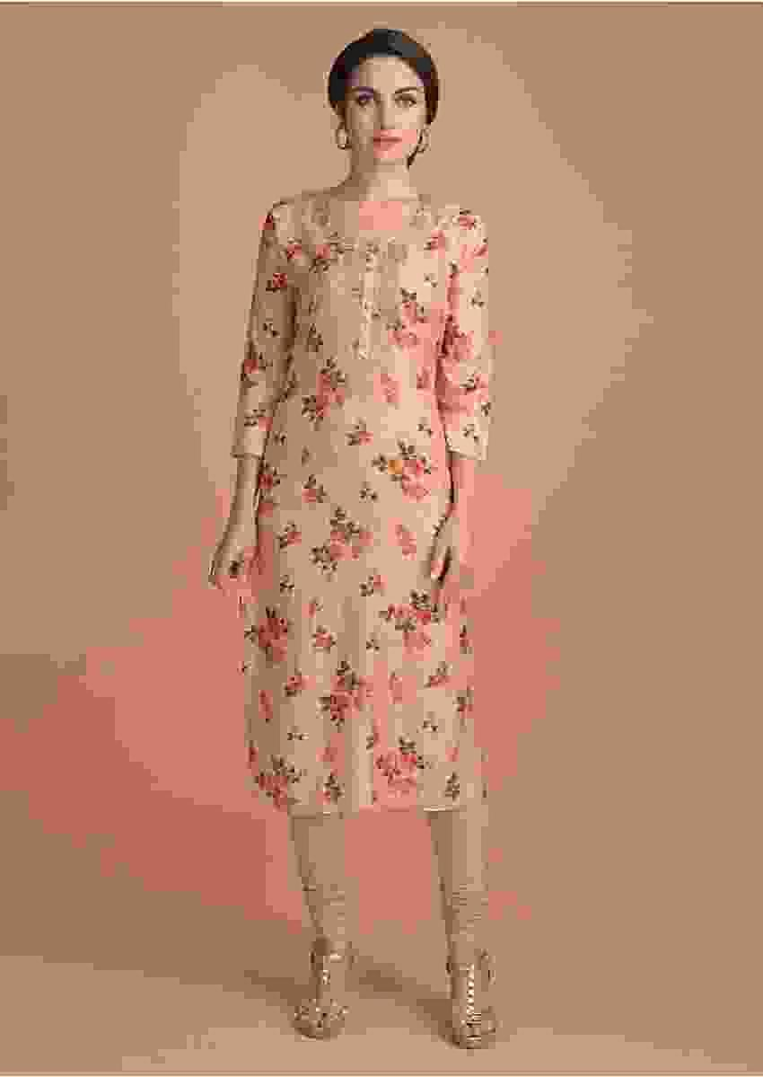 Powder Peach Kurti In Floral Print With Embroidered Placket Online - Kalki Fashion