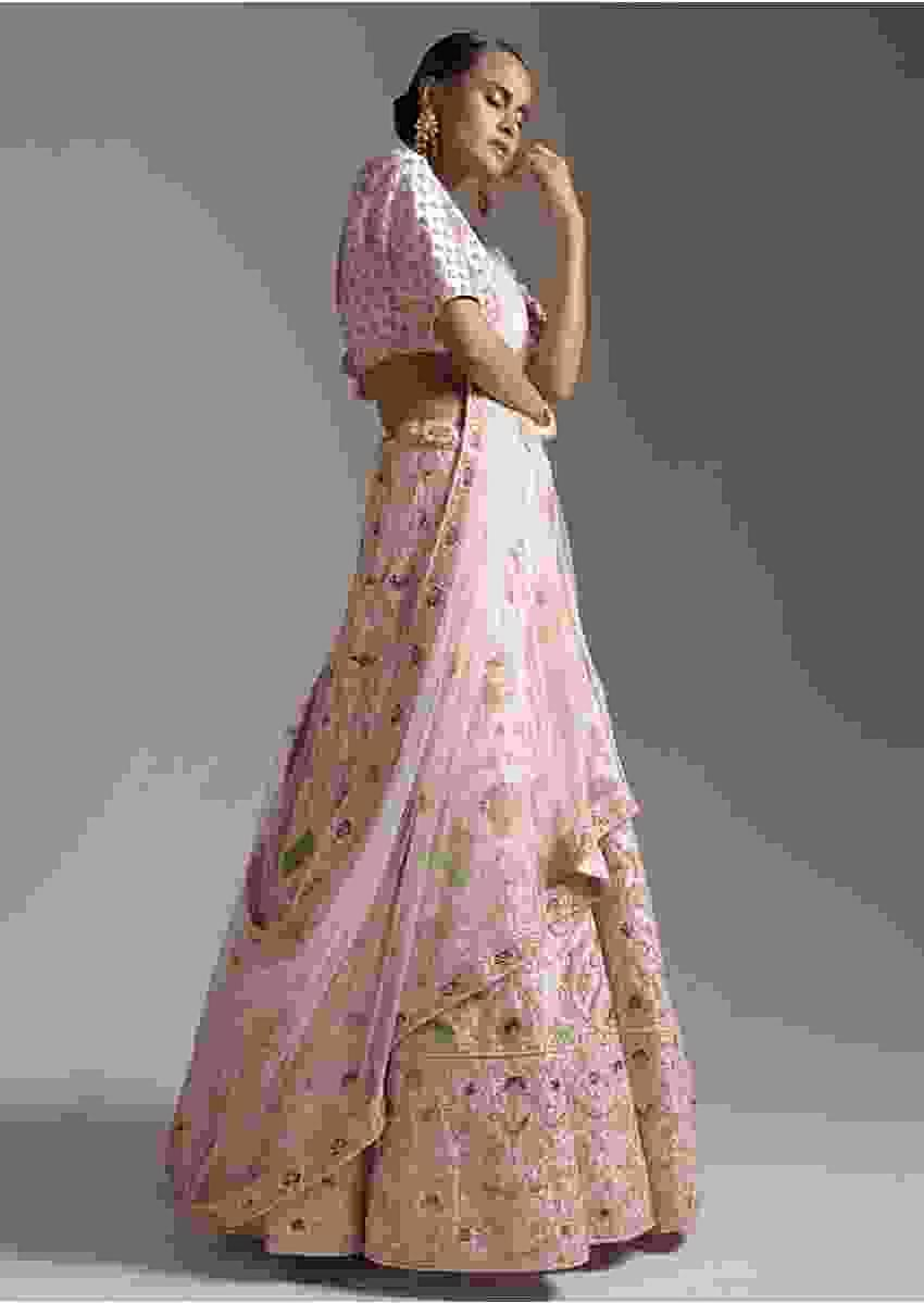 Powder Peach Lehenga Choli In Raw Silk With Intricate Embroidery Using Colorful Threads And Zardosi Online - Kalki Fashion
