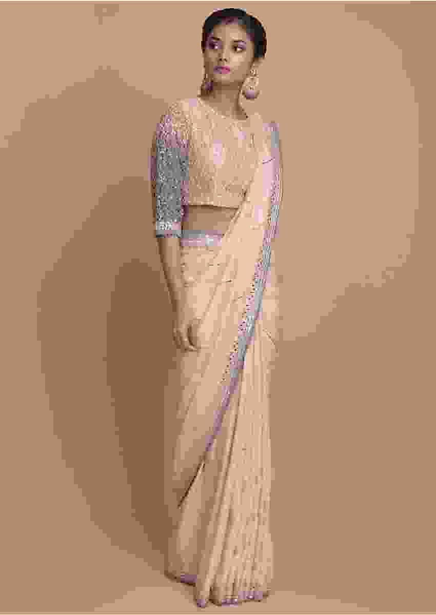 Powder Peach Saree In Cotton Silk With Mirror Embroidery Online - Kalki Fashion