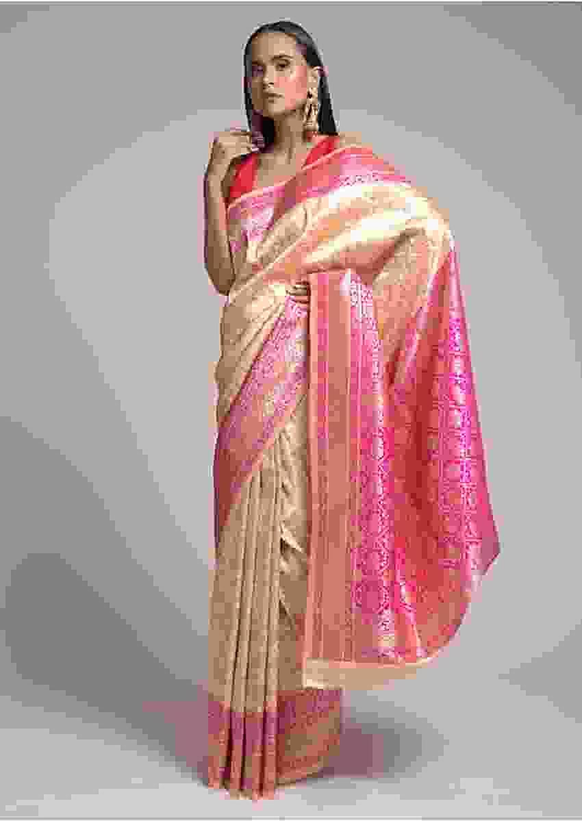 Powder Peach Saree In Silk With Woven Floral Jaal And Magenta Patola Pallu Online - Kalki Fashion