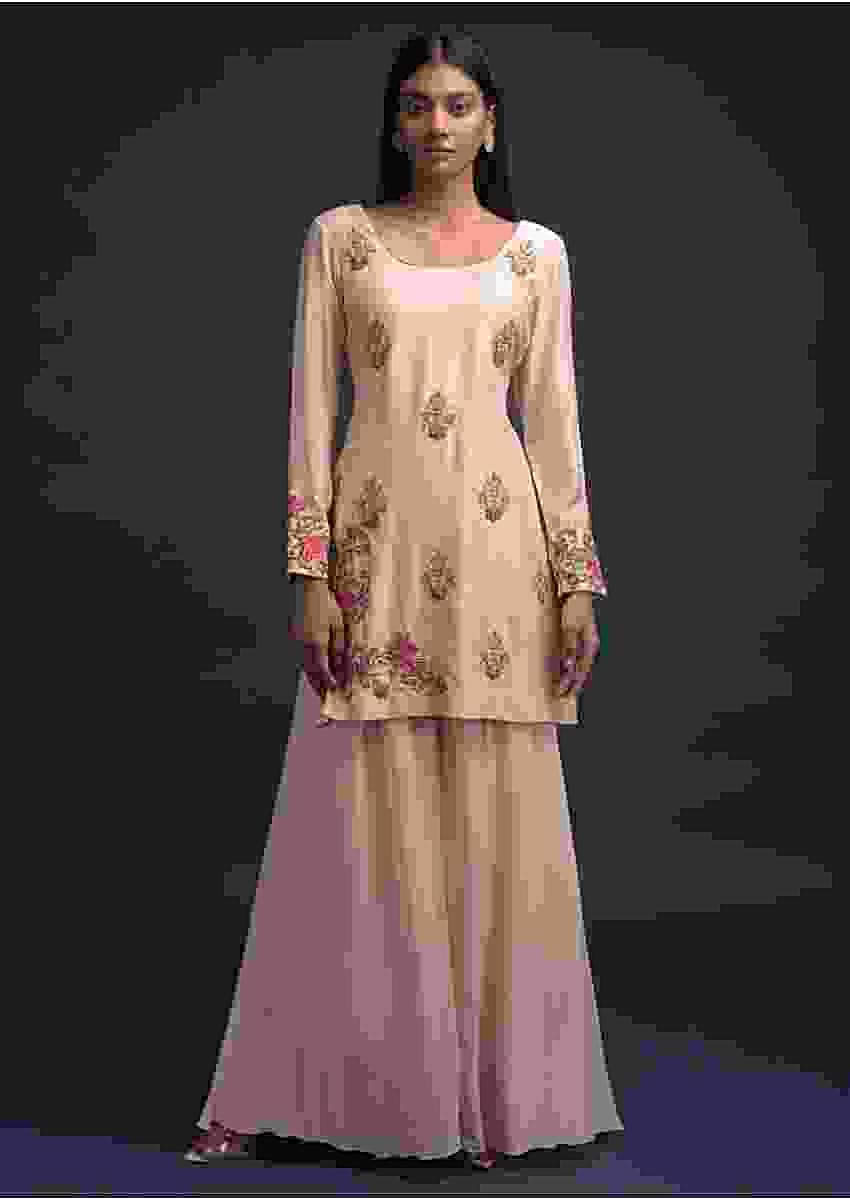 Powder Peach Sharara Suit In Georgette With Matching Cotton Silk Kurti Online - Kalki Fashion