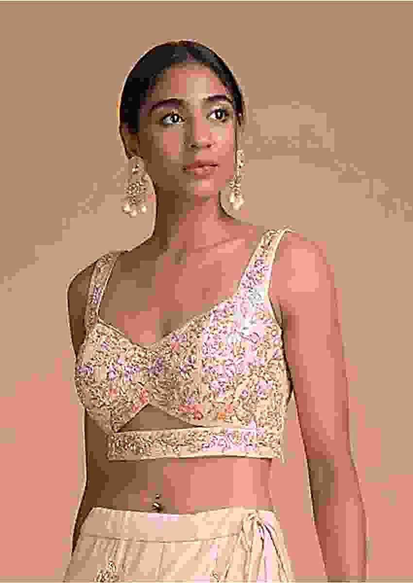 Powder Pink Blouse In Raw Silk With Beads And Zardosi Embroidered Floral Jaal Online - Kalki Fashion