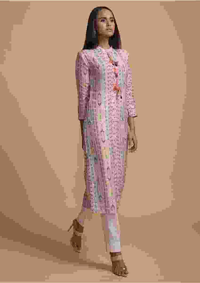 Powder Pink Kurti In Cotton With Colorful Printed Tribal Design Online - Kalki Fashion