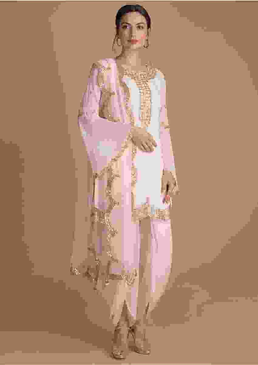 Powder Pink Suit In Georgette With Gotta, Zardosi And Pearls In Floral Pattern Online - Kalki Fashion