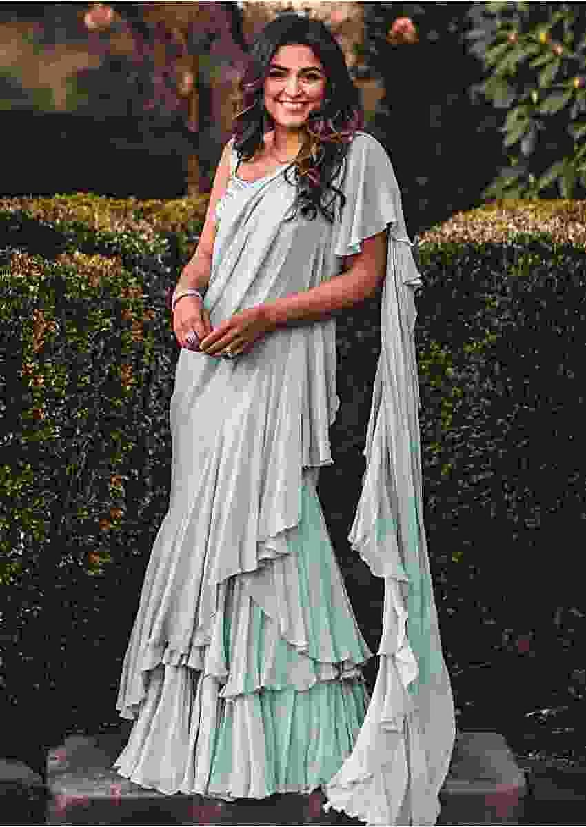 Powder Blue Stitched Saree In Georgette With Layers And Ruffles Online - Kalki Fashion