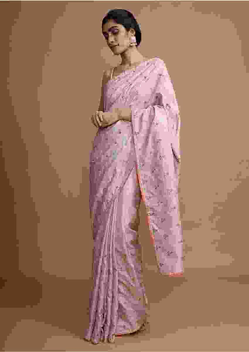 Powder Pink Saree In Dola Silk With Colorful Thread Embroidered Floral Buttis And Zari Mesh Online - Kalki Fashion