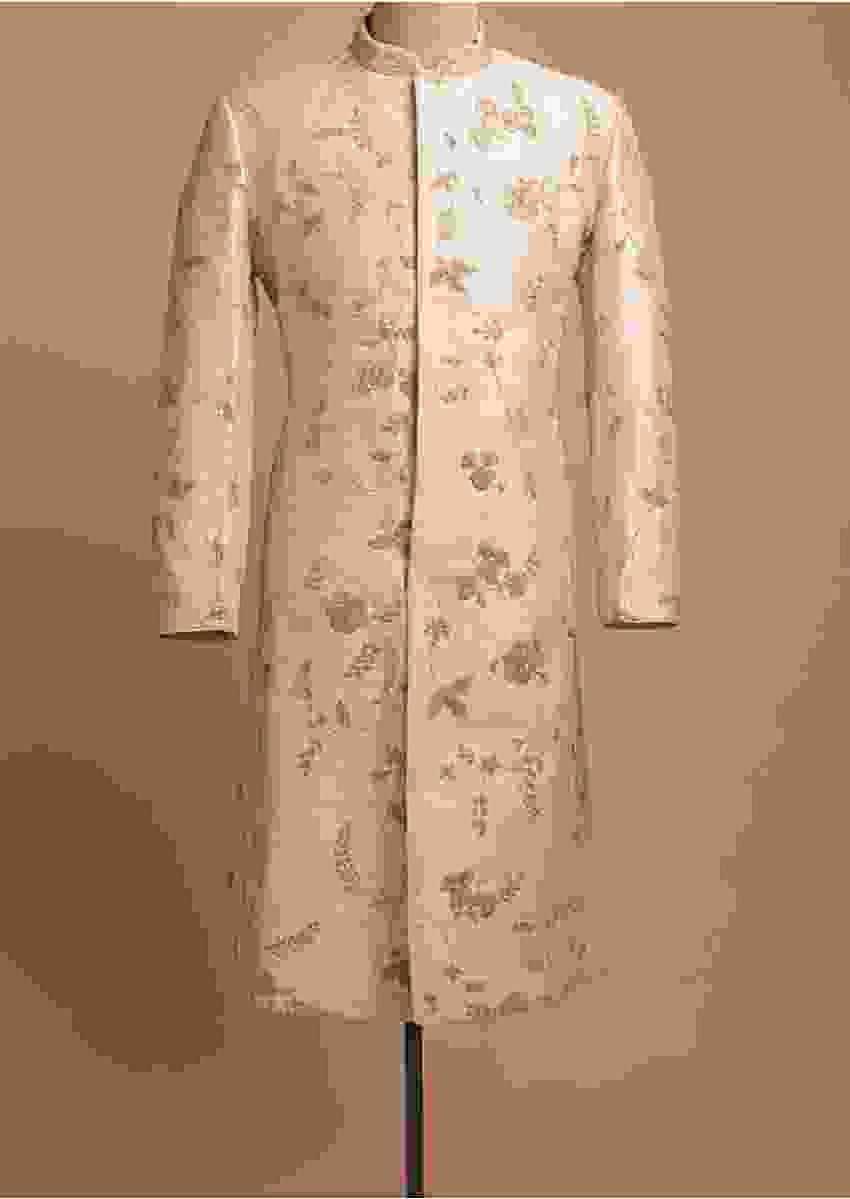 Powder Pink Sherwani In Raw Silk Embellished In Floral Jaal Embroidery Online - Kalki Fashion