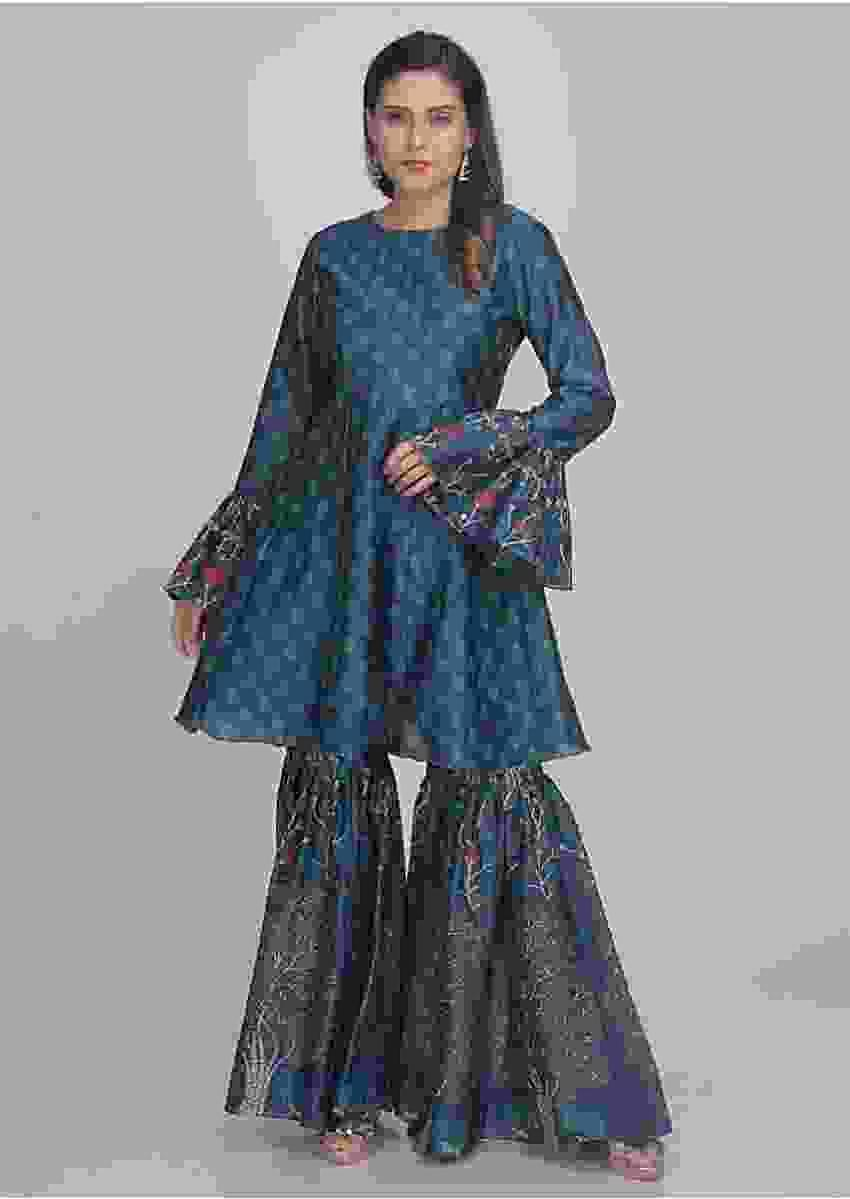 Prussian Blue Sharara Set With Short Kurti In Cotton Online - Kalki Fashion