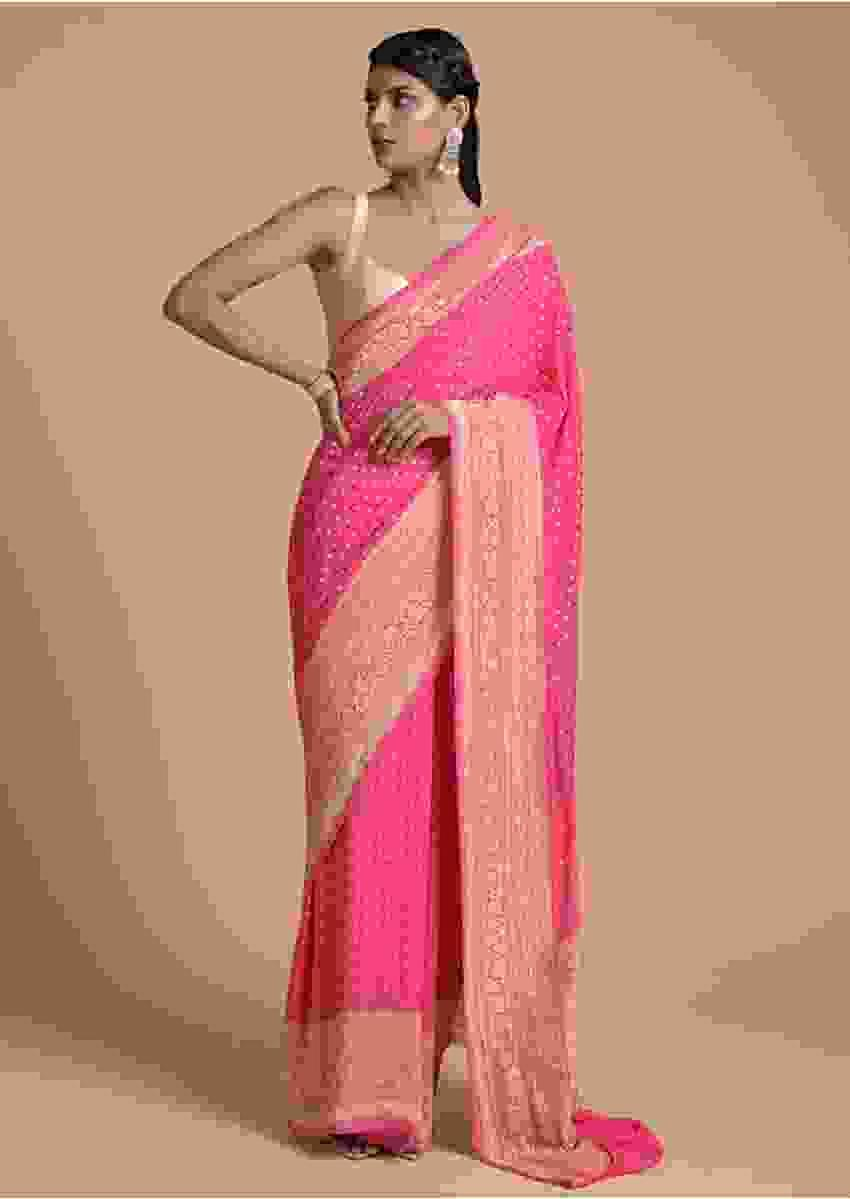 Punch Pink Saree In Georgette With Woven Dot Buttis Online - Kalki Fashion