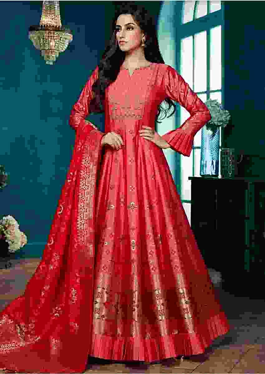 Punk Pink Anarkali Suit With Weaved Patola Motifs And Carmine Red Banarasi Dupatta Online - Kalki Fashion