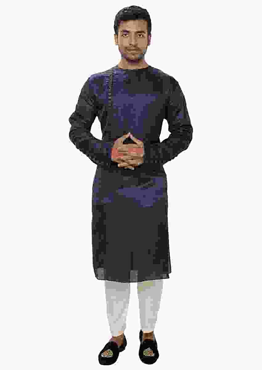 Purple Kurta Set With Side Button Panel Online - Kalki Fashion