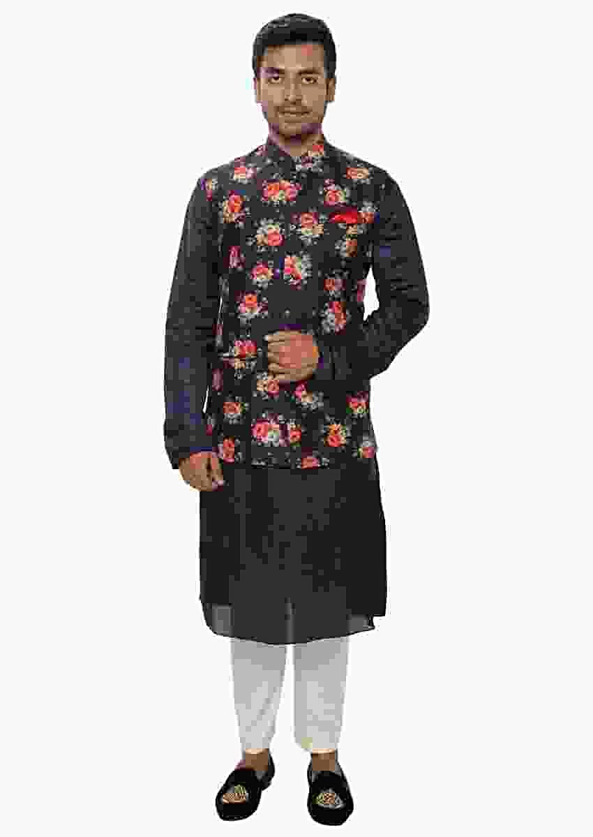 Purple Kurta Set With Side Button Panel And A Floral Digital Print Jacket Online - Kalki Fashion