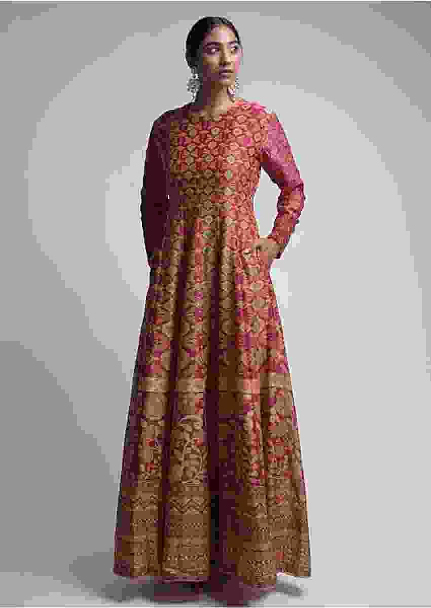 Rani Pink Anarkali Dress In Cotton With Patola Print  Online - Kalki Fashion