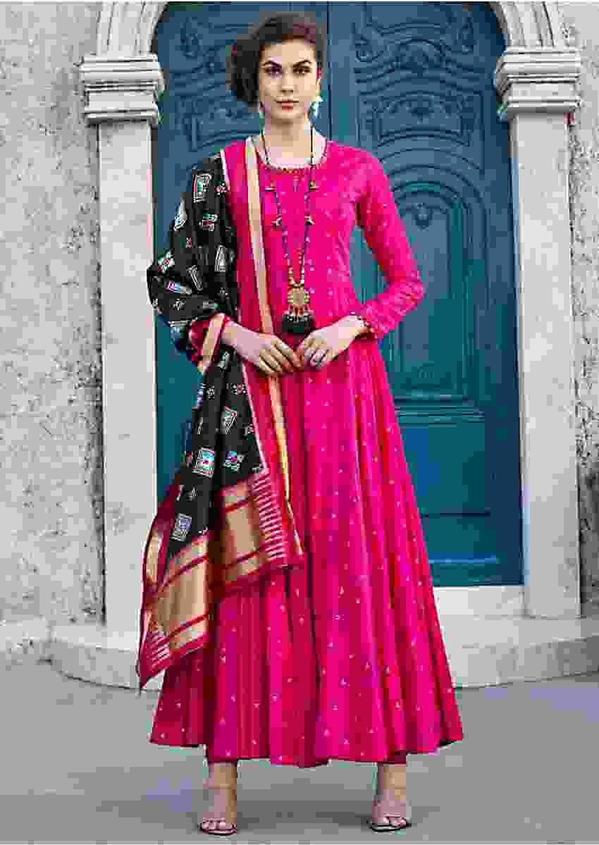 Rani Pink Anarkali Suit With Black Silk Dupatta Online - Kalki Fashion