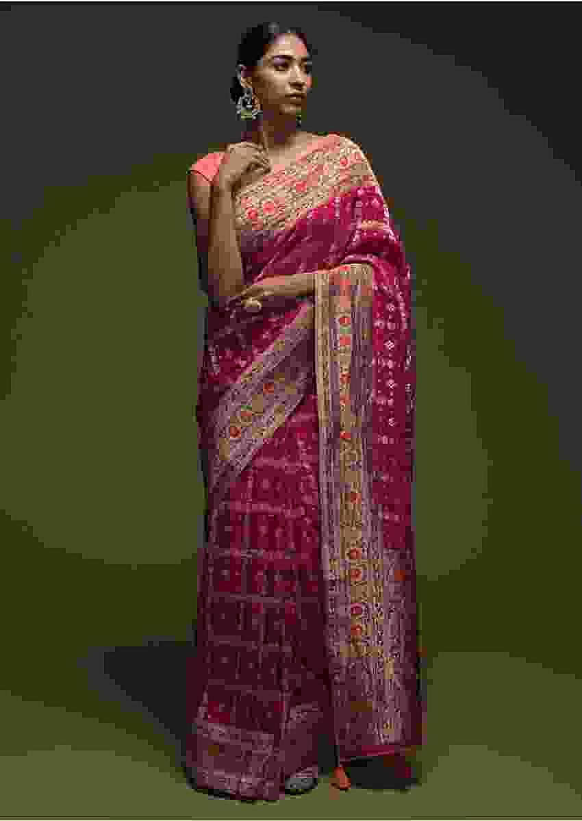 Rani Pink Banarasi Saree In Georgette With Colorful Woven Floral Border And Checks Design Online - Kalki Fashion