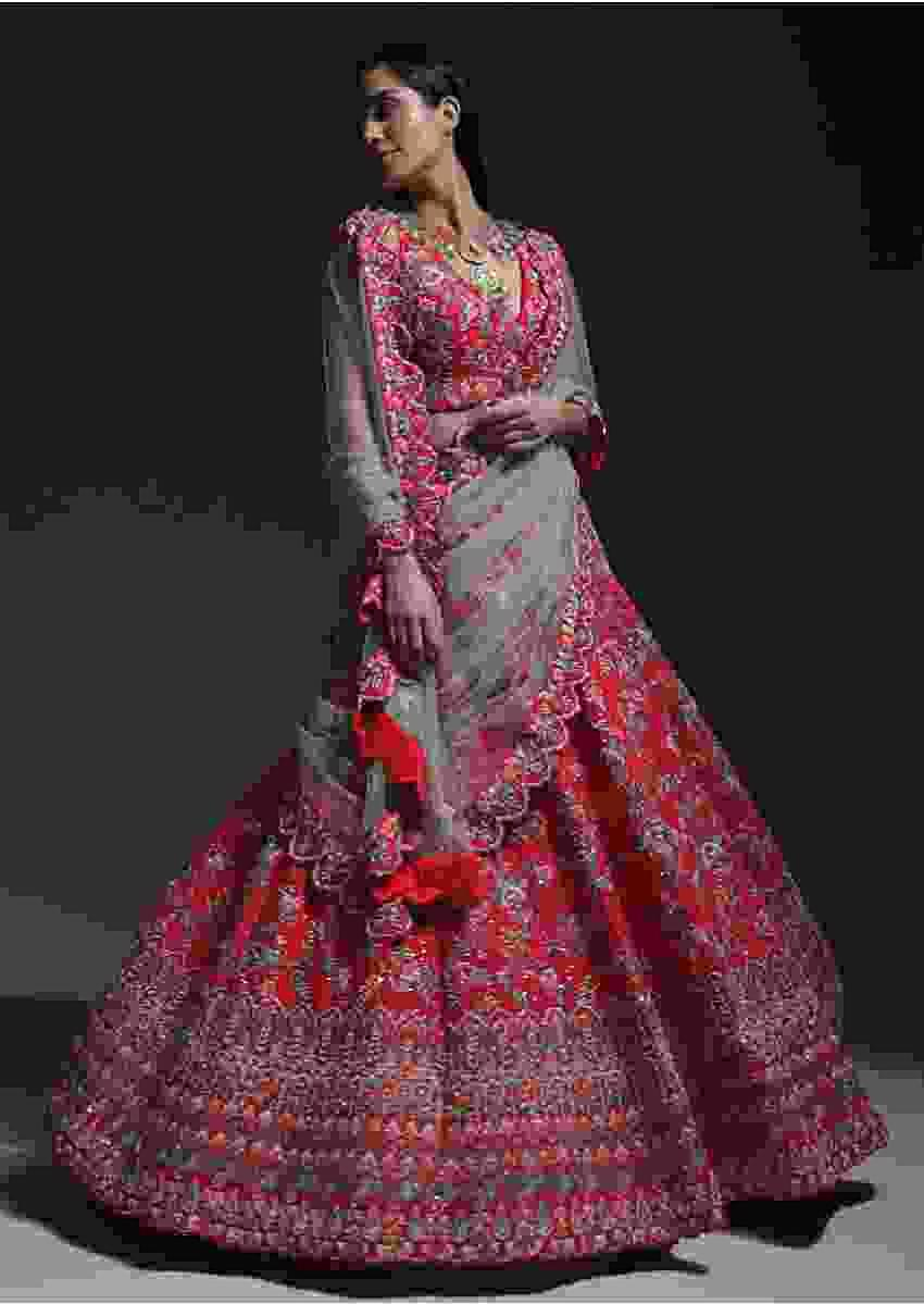 Carmine Red Heavy Embroidered Lehenga With Resham Embroidered Floral Vines And Heritage Border Online - Kalki Fashion