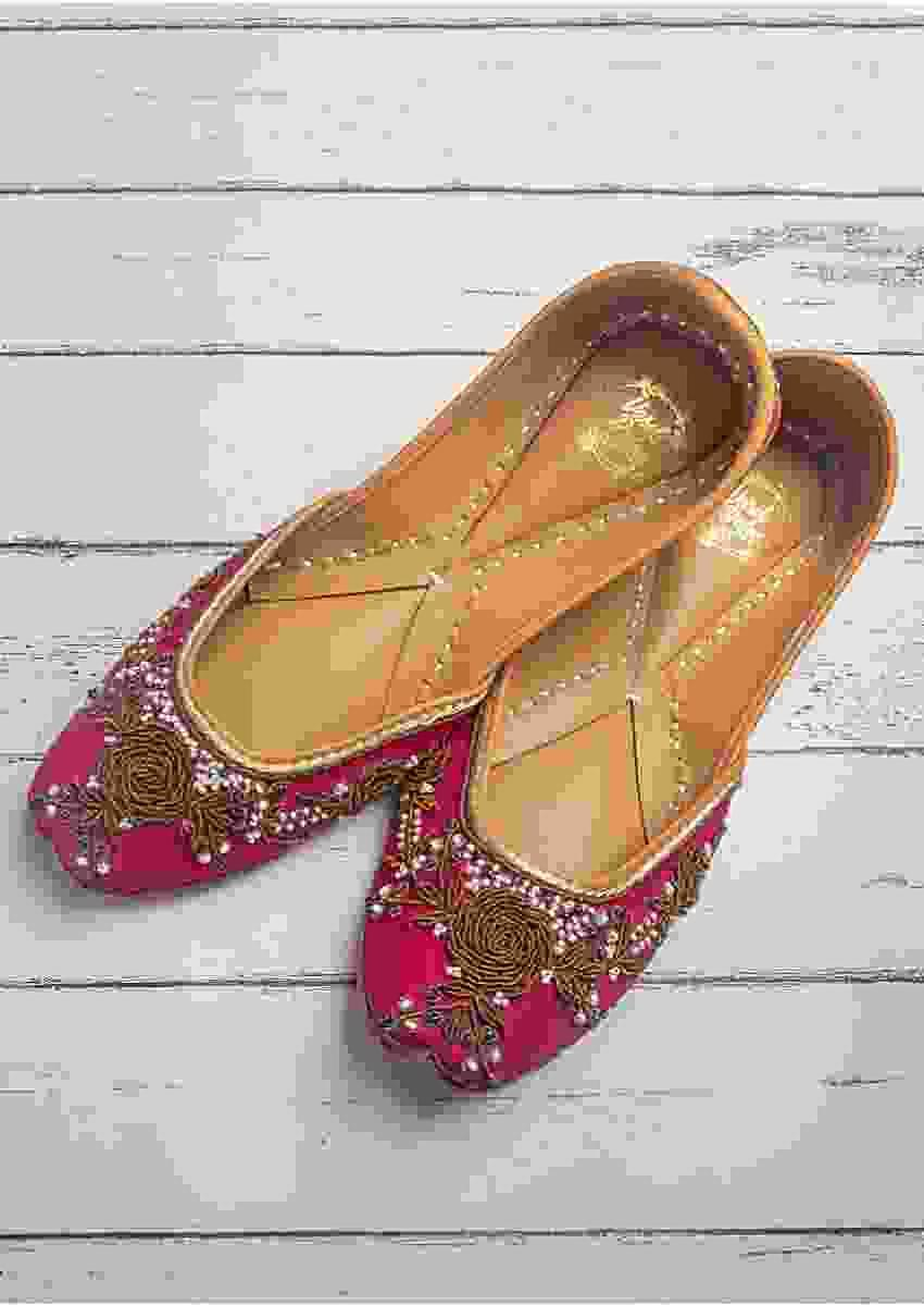 Rani Pink Juttis In Linen With Zardozi Work In Floral Motifs By Vareli Bafna