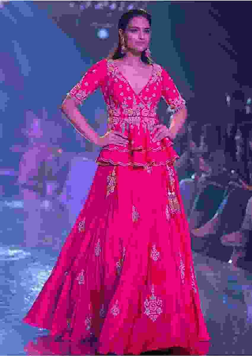 Fuschia Rose Lehenga And Peplum Top With Hand Embroidered Embossed Work Online - Kalki Fashion