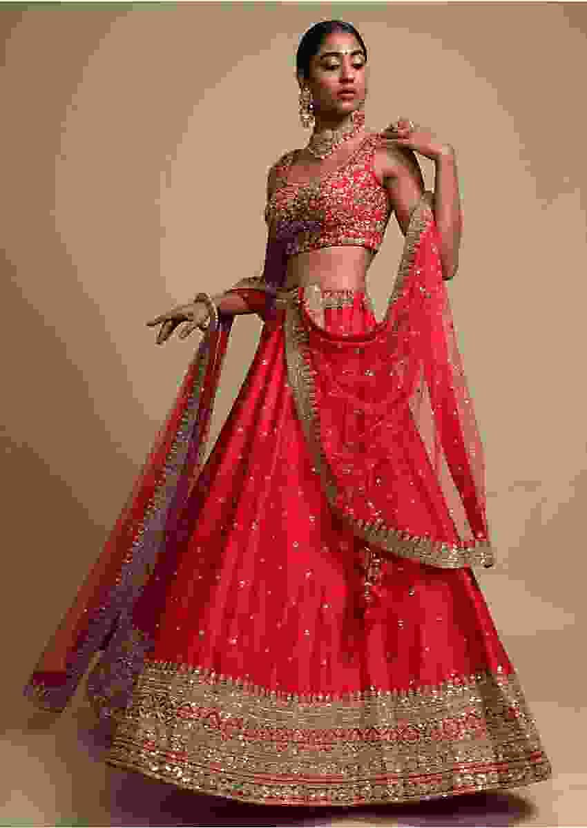 Rani Pink Lehenga Choli With Cut Dana Embroidered Buttis And Heavy Border Design Online - Kalki Fashion