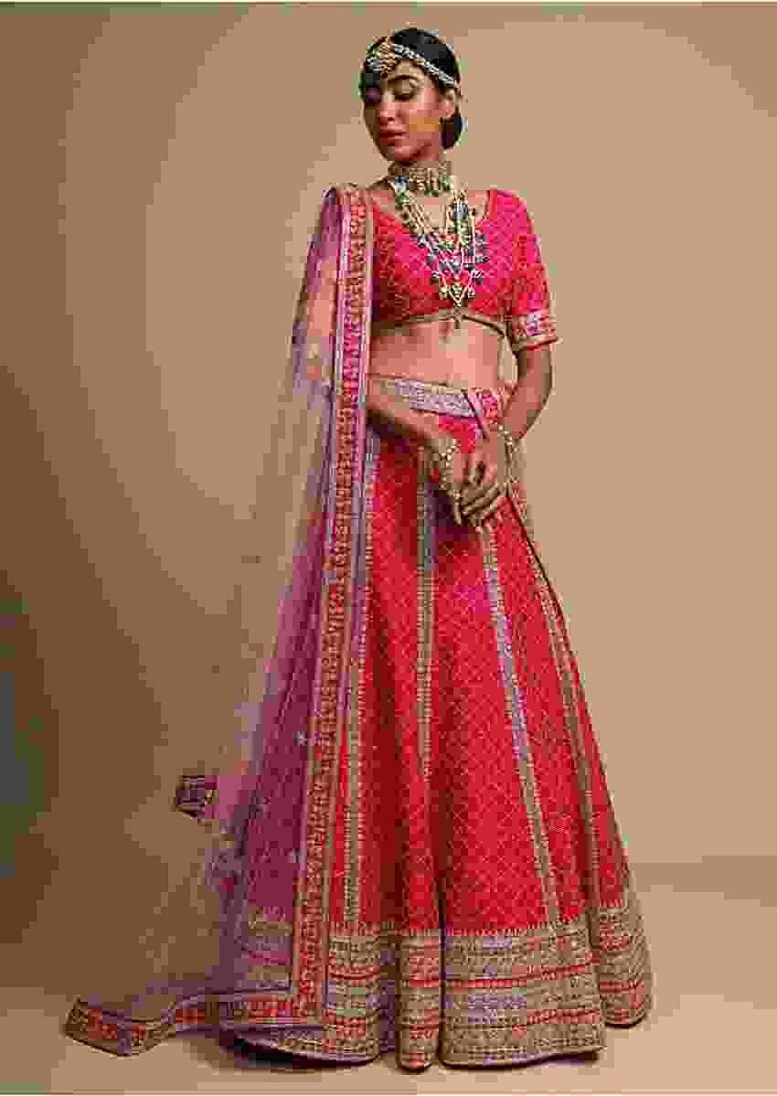 Rani Pink Lehenga Choli With Cut Dana Embroidered Moroccan Kali Design And Elaborate Border Online - Kalki Fashion