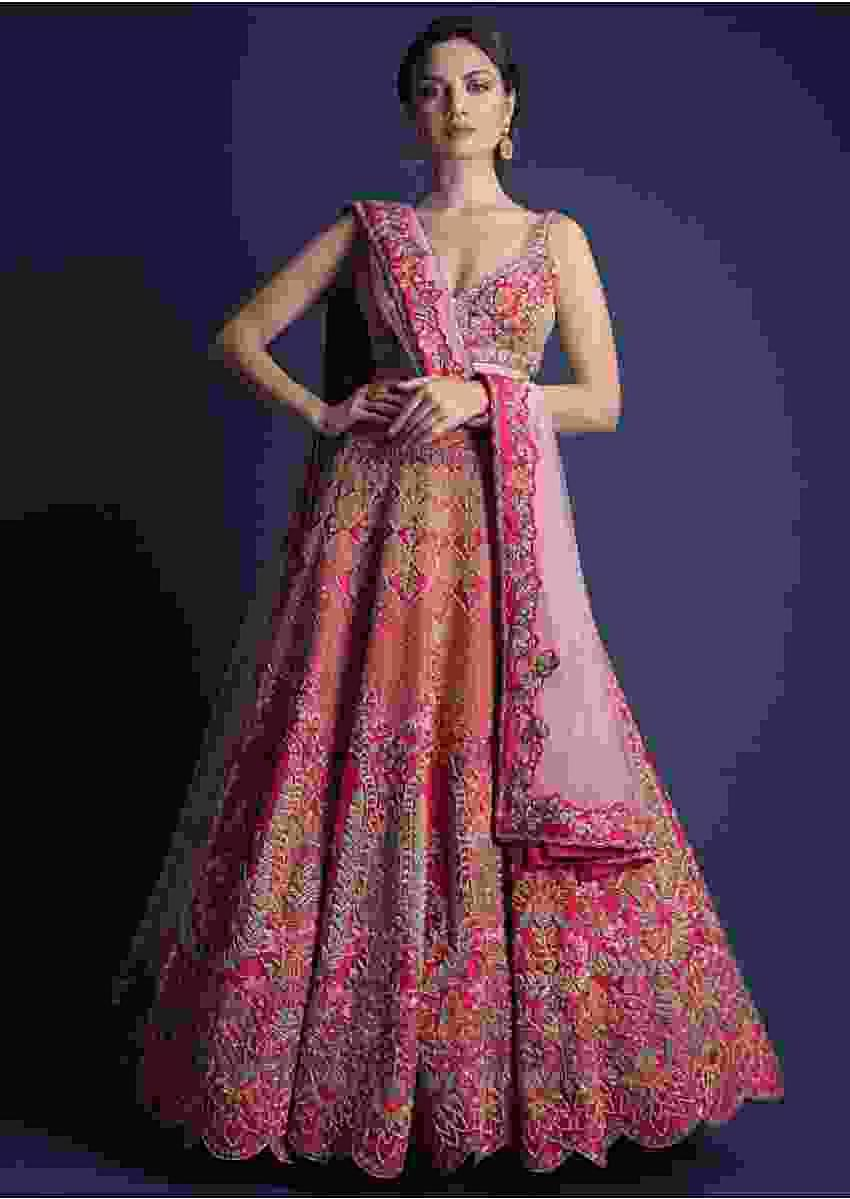 Fuschia Rose Lehenga Choli With Hand Embroidered Moroccan Motifs Online - Kalki Fashion
