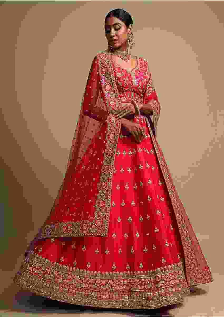 Rani Pink Lehenga Choli With Resham Embroidered Floral Border And Sequins Buttis Online - Kalki Fashion