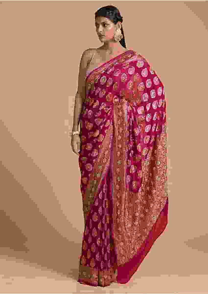 Rani Pink Saree In Georgette With Brocade Leaf Shaped Buttis And Cut Dana Work Online - Kalki Fashion
