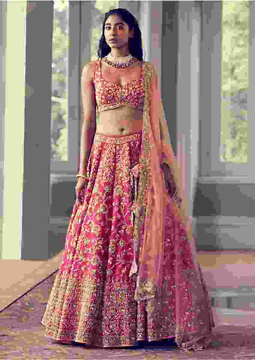 Rani Pink Lehenga Choli In Raw Silk With Zardozi And French Knots Embroidered Floral Jaal Online - Kalki Fashion