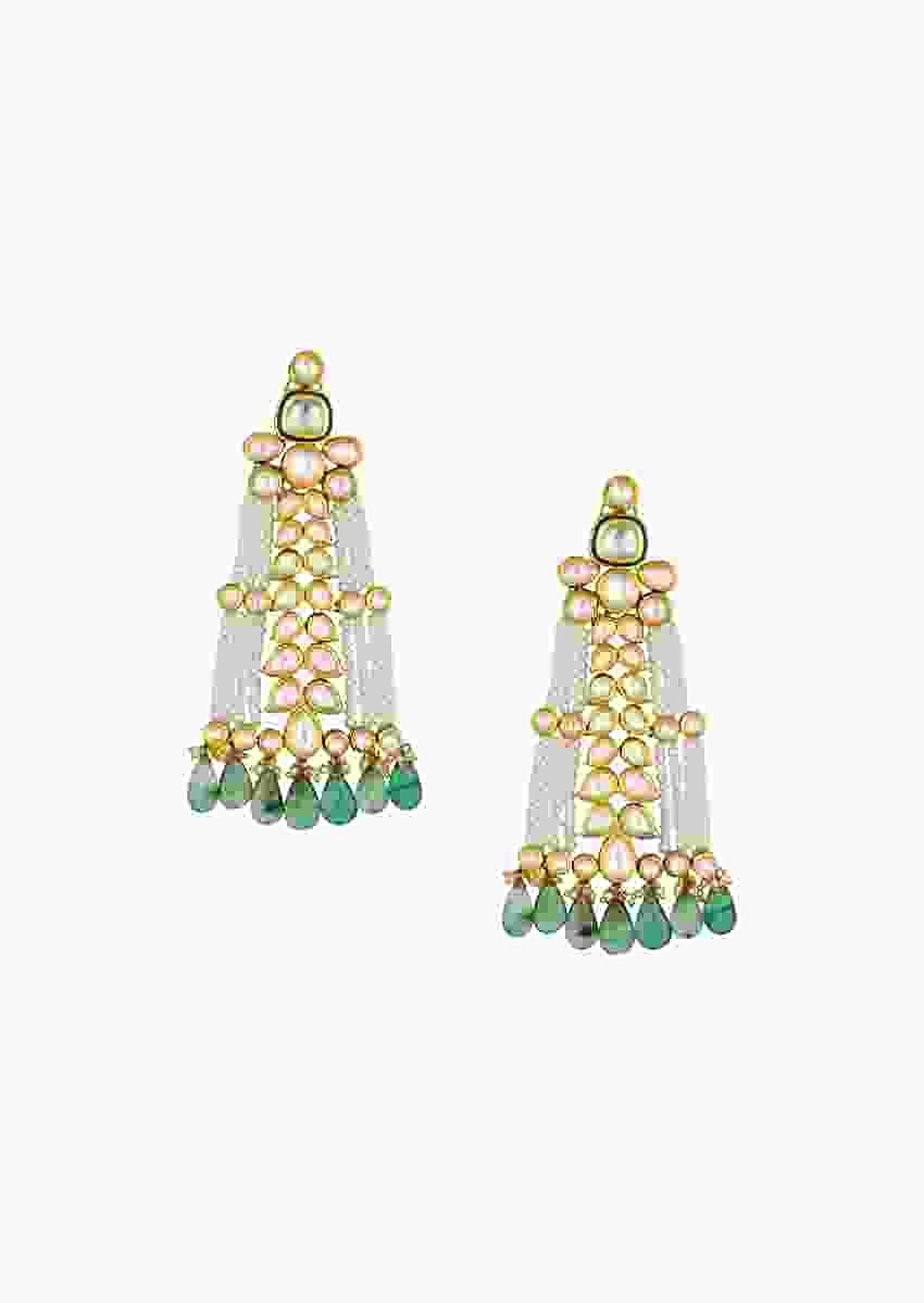 Ravishing Kundan Polki Earrings With Fluoride And Shell Pearls Strings Online - Joules By Radhika