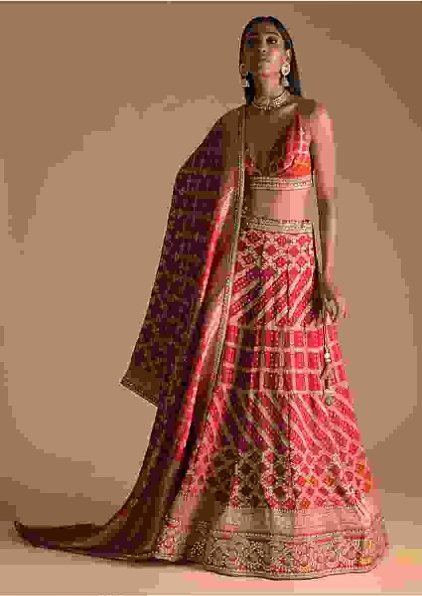 Red And Fuchsia Shaded Brocade Lehenga Choli With Bandhani Print And Gotta Embroidered Border Online - Kalki Fashion