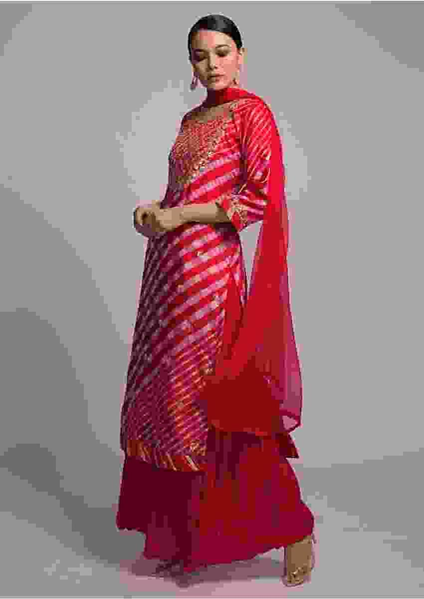 Red And Pink Sharara Suit With Lehariya Print And Gotta Patti Embroidery Online - Kalki Fashion