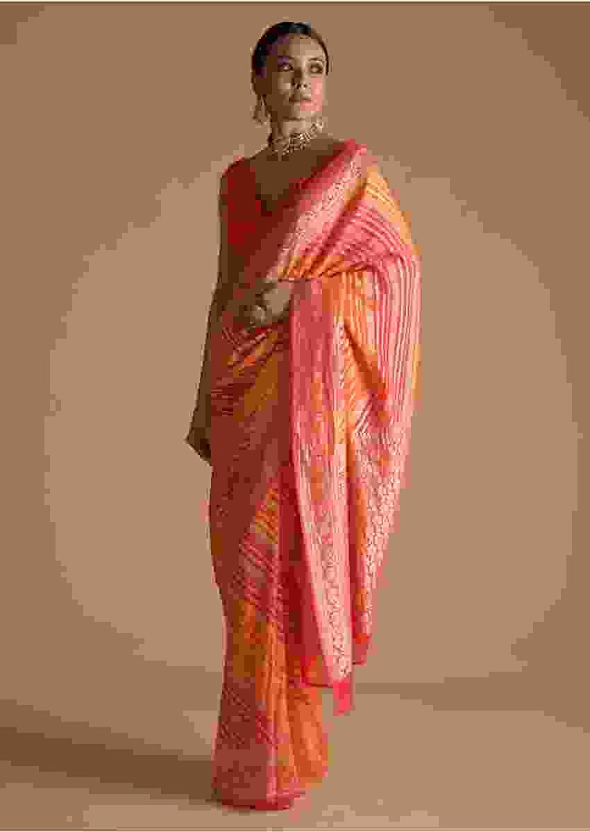 Red And Yellow Shaded Khadi Georgette Saree With Weaved Work In Floral Motif And Stripes Online - Kalki Fashion