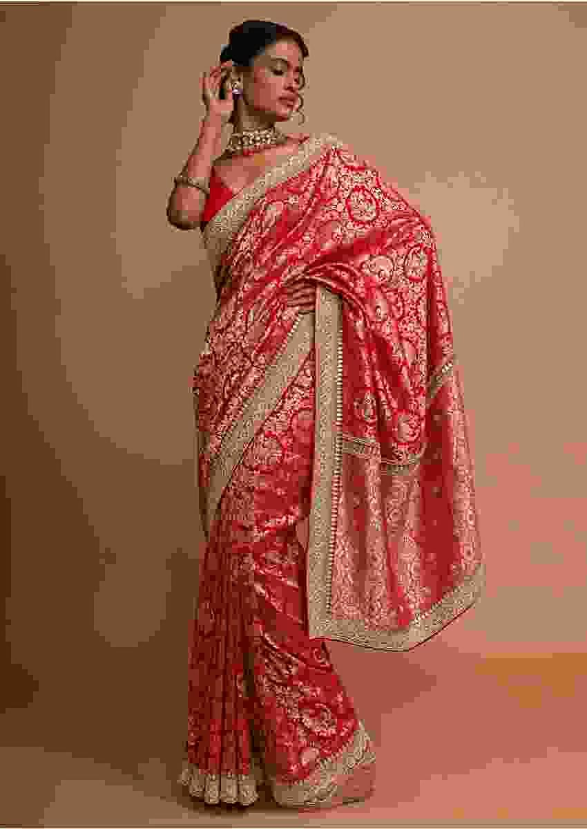 Red banarasi dola silk saree with jaal embroidery Online - Kalki Fashion