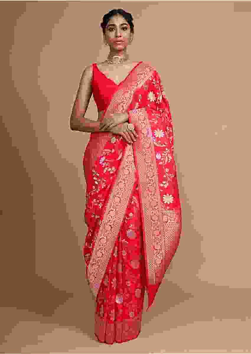 Red Banarasi Saree In Silk With Weaved Floral Jaal Online - Kalki Fashion