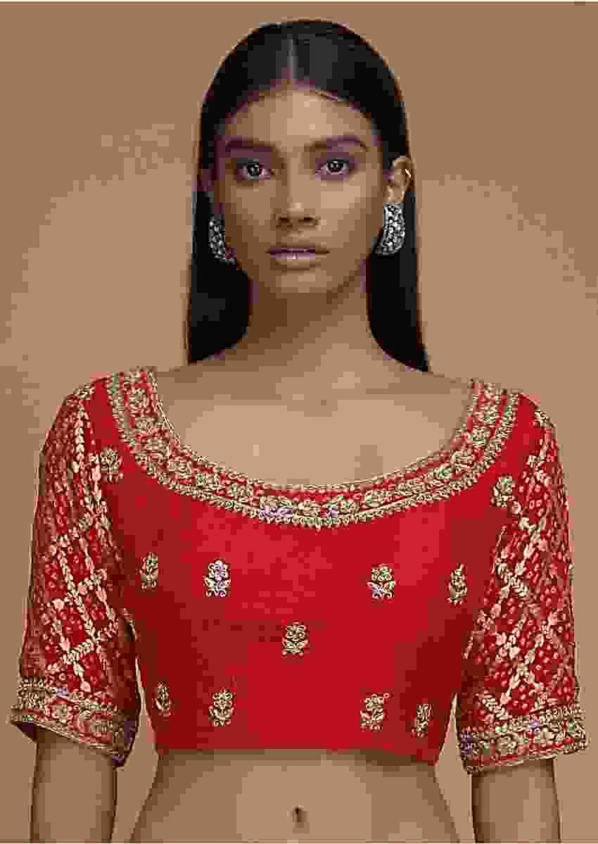 Red Blouse In Silk With Embroidered Floral Buttis And Bandhani Printed Sleeves Online - Kalki Fashion