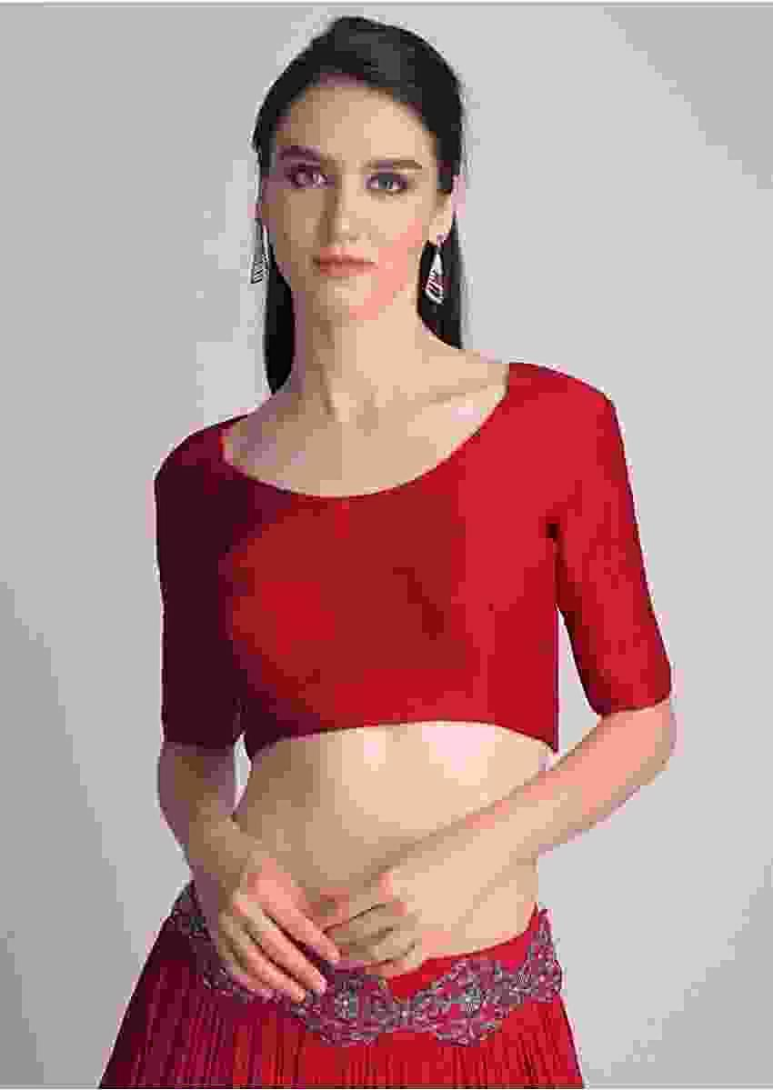 Red Blouse With Half Sleeves And Round Neckline  Online - Kalki Fashion