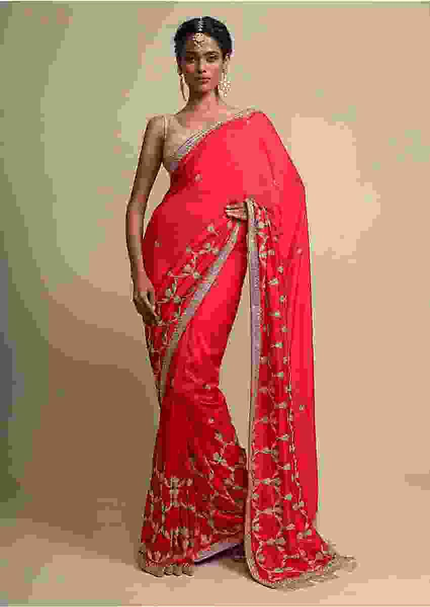 Red Dupion Saree With Zardosi, Sequins And Zari Work Online - Kalki Fashion