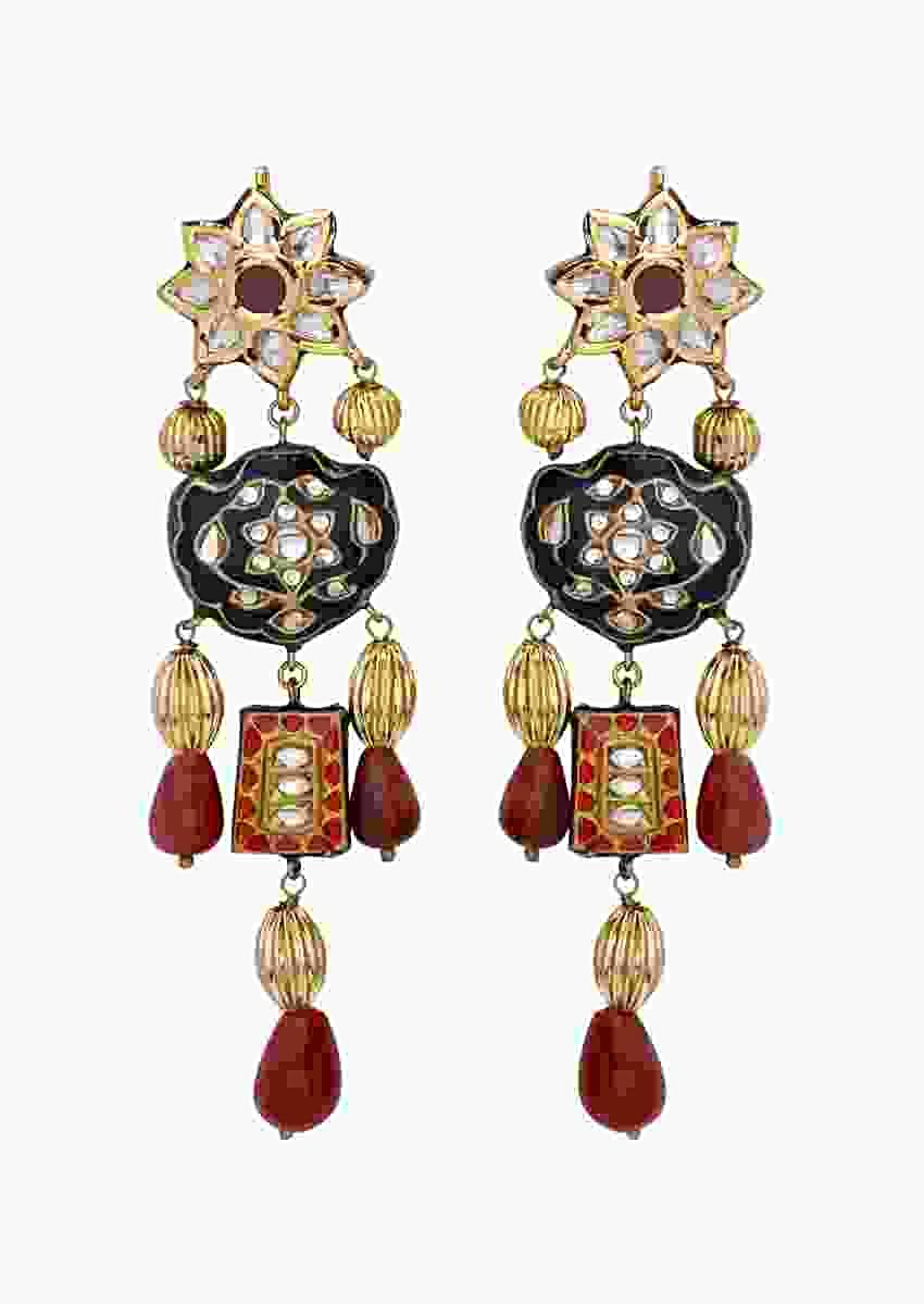 Red Earrings With Polki, Meenakari And Carved Gold Beads In Dangling Design Online - Joules By Radhika