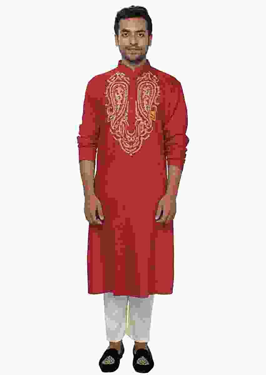 Red Golden Kurta Set With Zari Embroidery Online - Kalki Fashion
