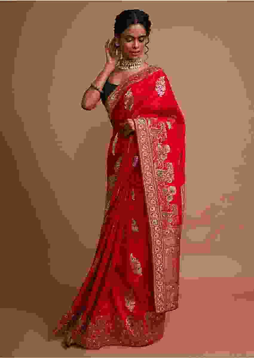 Red khadi silk saree with weaved butti  and border in floral and paisley motif Online - Kalki Fashion
