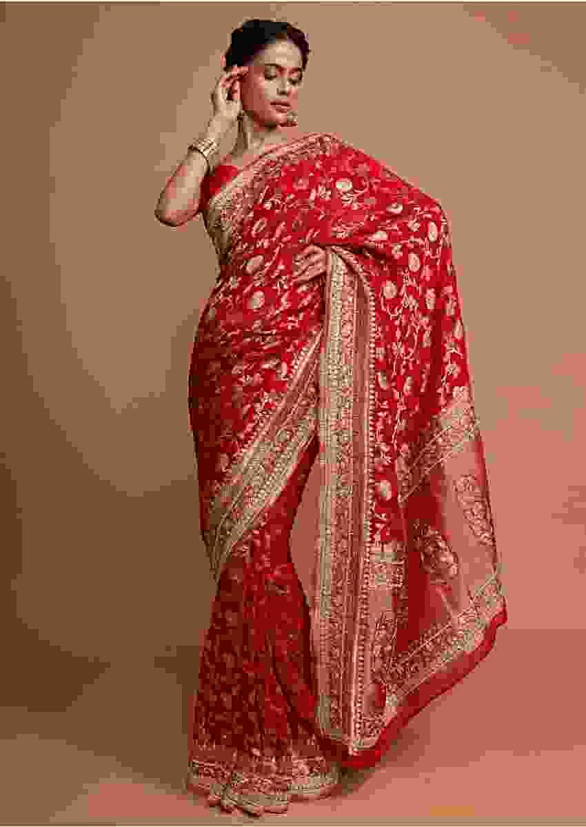 Red khadi silk saree with weaved floral jaal work Online - Kalki Fashion