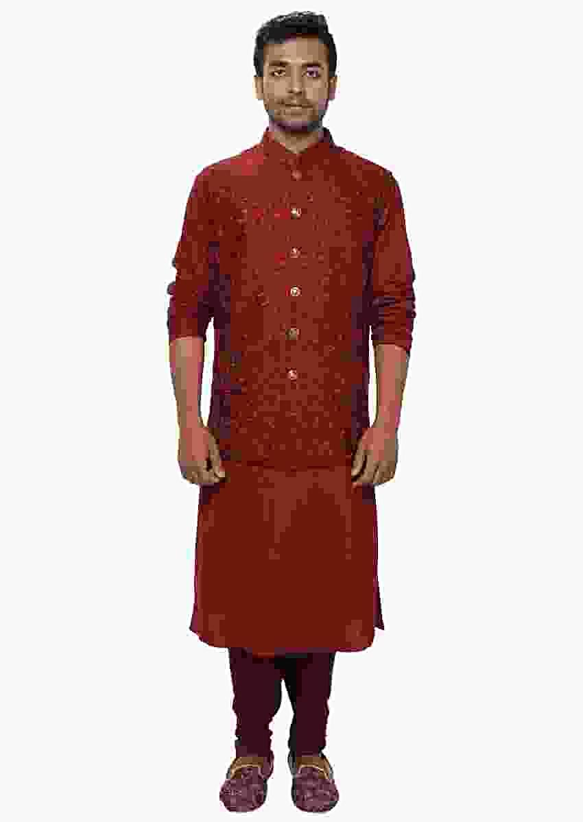 Red Kurta & Churidar With A Red Floral Threadwork Embroidered Nehru Jacket Set Online - Kalki Fashion